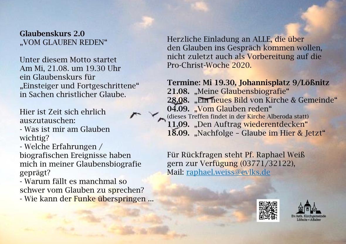 Plakat Vom Glauben reden