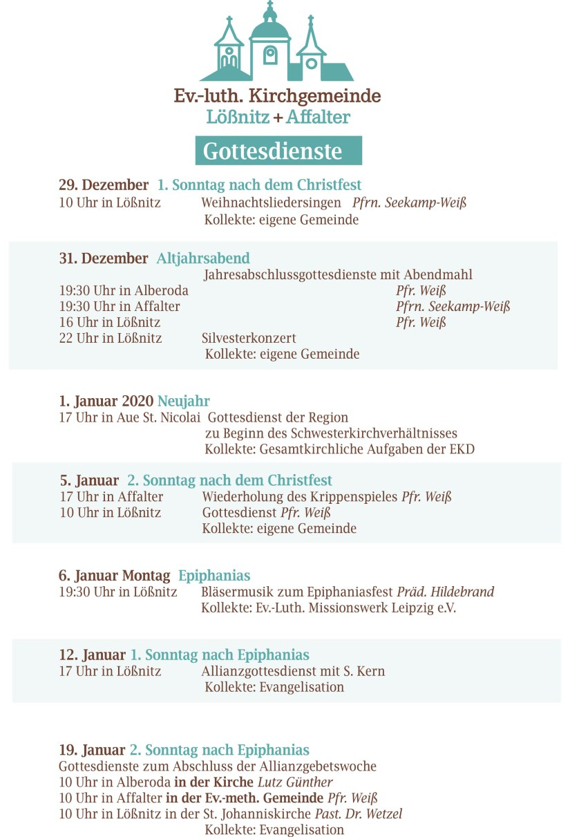 Kirchennachrichten Lößnitz Dezember-Januar-2